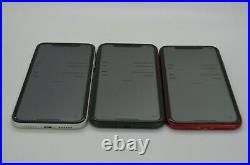 Apple iPhone 11 64GB Black/Red/White Lot of 3 phones