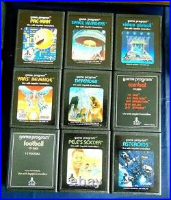 Atari 2600 Console/Game Lot 6 Switch Light Sixer Joysticks Paddles 9 Games More