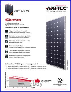 Axitec 370W Monocrystaline 72cell Solar Module Pallet with25 Solar Panels US Stock