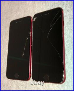 LOT OF 2 iPHONE 8 64GB (T-Mobile ONLY) Red. B@D ESNCRACKED GLASS AS IS