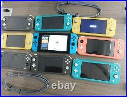 LOT OF 9 Nintendo Switch Lite Hand-Held Gaming Console WithCHRAGER HDH-001 HAC-001
