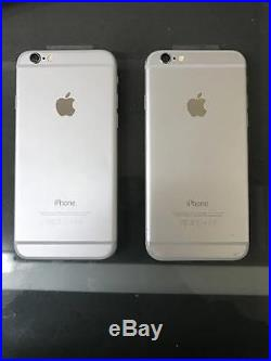 Lot of 2 iPhone 6 Silver Phones 16GB Devices Unlocked Have Issues