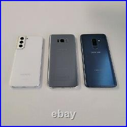Lot of 3 Samsung Galaxy S21 S9 Plus S8 Plus ESN IMEI Bad Mixed