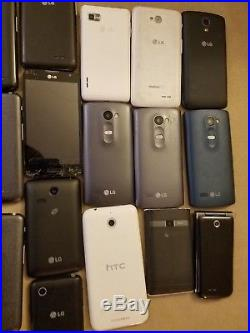 Lot of 32 LG Samsung Phones-Working-Cracked Screens-As Is for Parts or Repair
