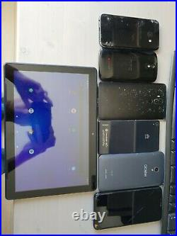 Lot of 7 android smartphones tablet samsung huawei htc and others