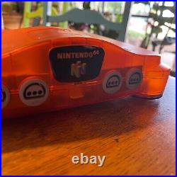 Nintendo 64 Launch Edition Fire Orange Console, Ice Blue controller with games