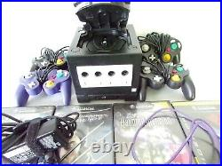 Nintendo GameCube Black Game Console with 6 Controller &Gameboy Player Base extras