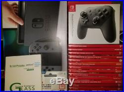 Nintendo Switch + 14 games + pro controller + 128GB SD + Glass screen protectors