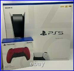 Sony PlayStation 5 Console DISC VERSION PS5 with EXTRA Cosmic Red Controller NEW